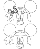 Mickey and Minnie Mouse Pirate Bandana SVG Outline