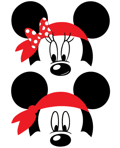 Mickey and Minnie Mouse Pirate Bandana SVG