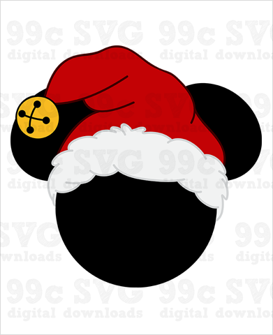 Mickey with Santa Hat SVG