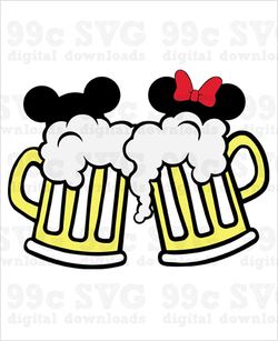 Mickey Minnie Beer Mugs SVG