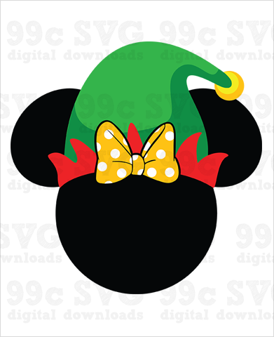 Minnie with Elf Hat SVG