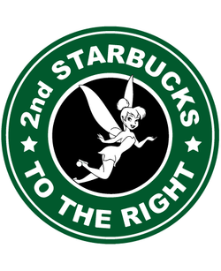 Starbucks Inspired Logo Tinkerbell - 2nd Starbucks To The Right
