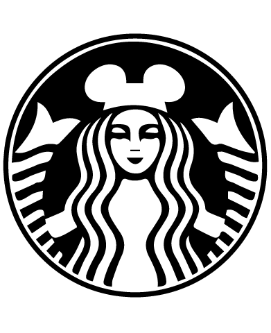 Starbucks Inspired Disney Ears Coffee Logo - Starbucks Siren with Mickey Ears