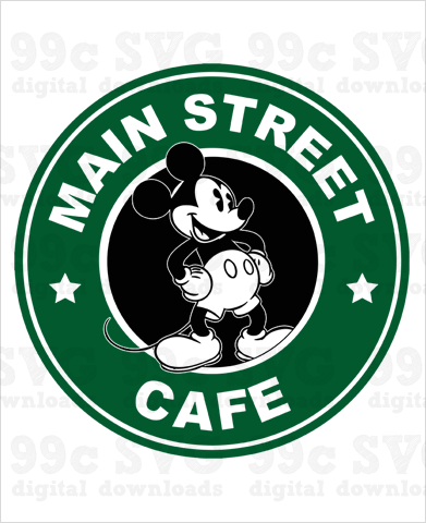 Mickey: Main Street Cafe Starbucks SVG