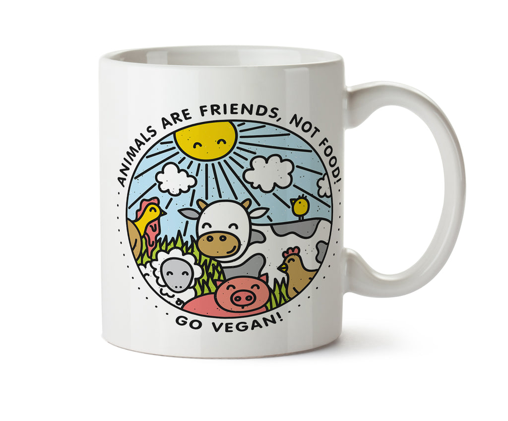 Friends Not Food Happy Farm Animals Go Vegan Mug