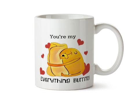 You're My Everything Burrito - Adventure Time Jake the Dog DISHWASHER Safe Coffee Mug -  Add Own Text to Personalize - Great Gift Present