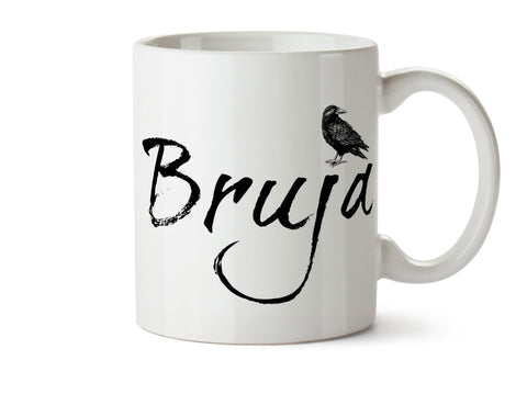 BRUJA Witch Crow - One 11 ounce Dishwasher / Microwave Coffee Mug - Superb GIFT - Option to Add Own Text