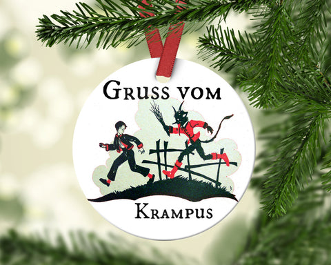 "Gruss Vom Krampus Poreclain Christmas Tree Ornament 2.75"" Round"