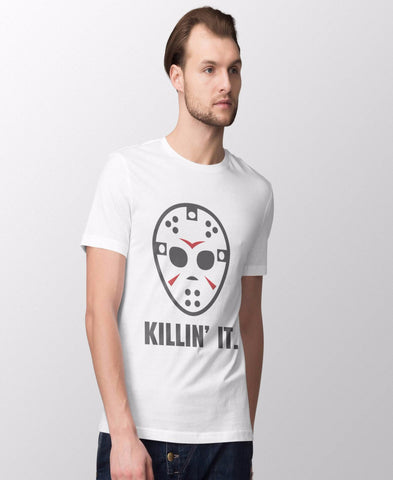 Men's T-shirt Tee Shirt HALLOWEEN Friday the 13th KILLIN' IT Funny