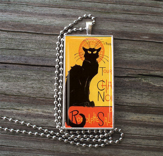 "Chat Noir Glass Tile Necklace inside Metal Framed Bezel INCLUDES 24"" Chain Nouveau Art"