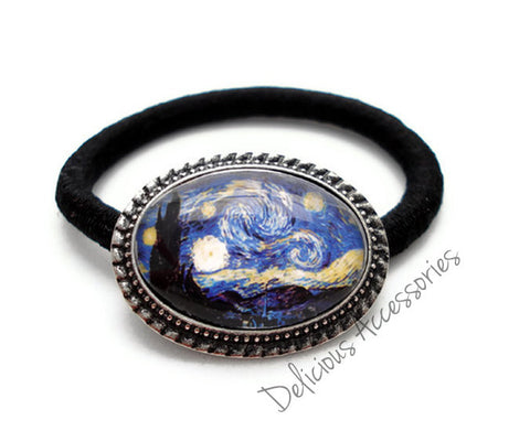 Van Gogh Starry Night  Ponytail Holder