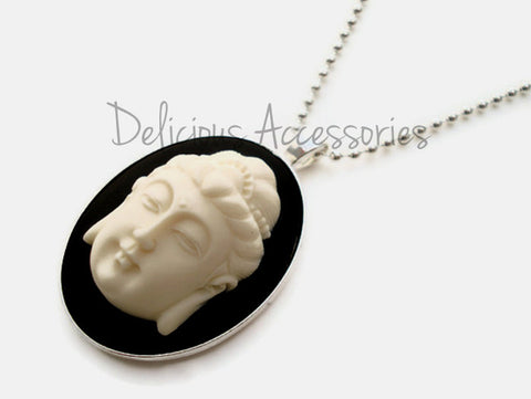 Buddha White Cameo on Black Background Pendant Necklace
