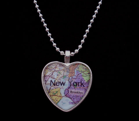 I Love NEW YORK Map Brooklyn Heart Silver plated Glass Pendant Necklace