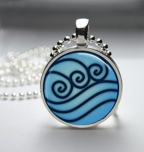 Avatar Water Tribe Glass Tile Necklace Metal Setting INCLUDES Chain