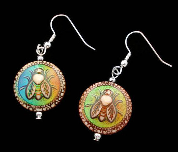 MIrage MOOD Color Changing HONEY BEE Bead Earrings