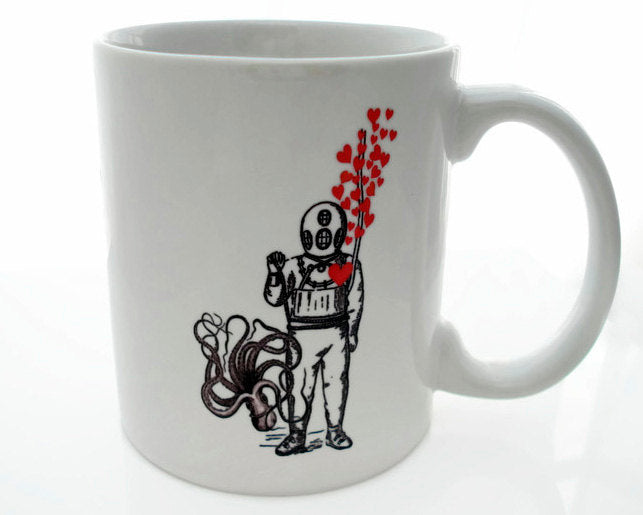 DEEP Sea LOVIN' -  11 ounce Coffee Mug - Superb GIFT - Scuba Diver Octopus