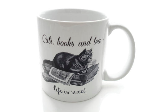 CATS, Books and TEA - Life is Sweet- 11 ounce Coffee Mug - Superb GIFT
