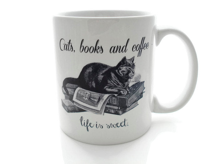 CATS, Books and Coffee - Life is Sweet- 11 ounce Coffee Mug - Superb GIFT