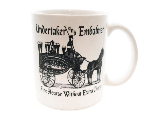 Hearse Funeral Director Vintage Ad   - 11 ounce DISHWASHER / Microwave Coffee Mug - Superb GIFT - May Add Own Text