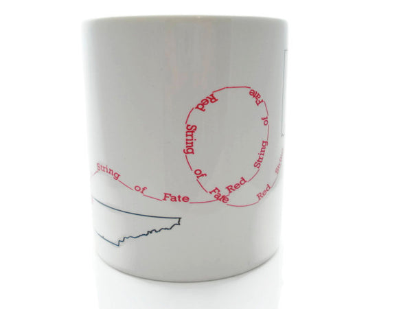 Customized RED STRING of FATE  - 11 oz Mug - Dishwasher / Microwave Safe Relationship - Personalized with the States / Countries You Choose