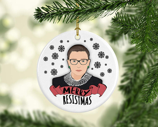 Ruth Bader Ginsburg Christmas Porcelain Christmas Tree Ornament