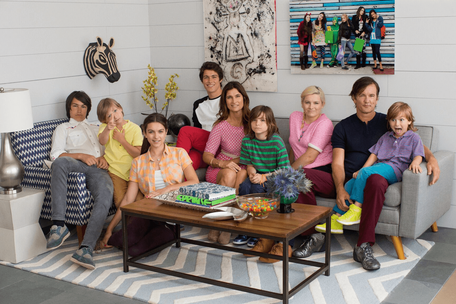 A Walmart advertisement of the Novogratz family at home styled by Sarah Parlow Fashion Stylist.