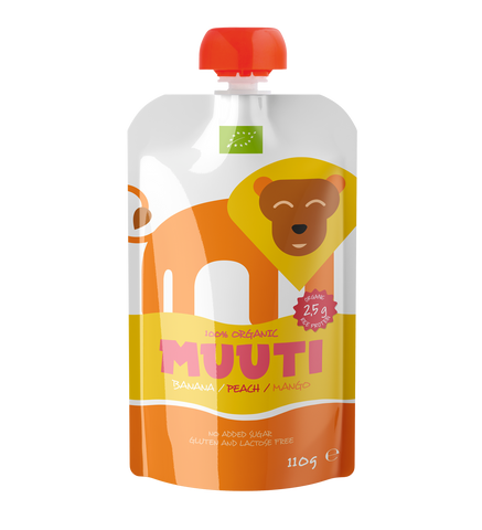 MUUTI Organic Banana-peach-mango puree with rice protein