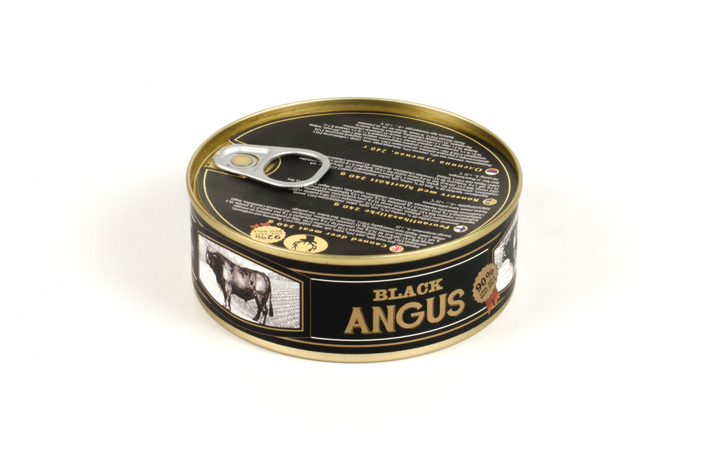 Canned black angus (beef)