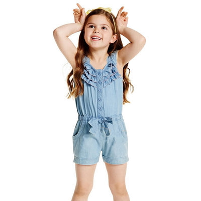 0-5 Years Toddlers Girls One-Piece Rompers Shorts Washed Jeans Jumpsuit Playsuit - upcube