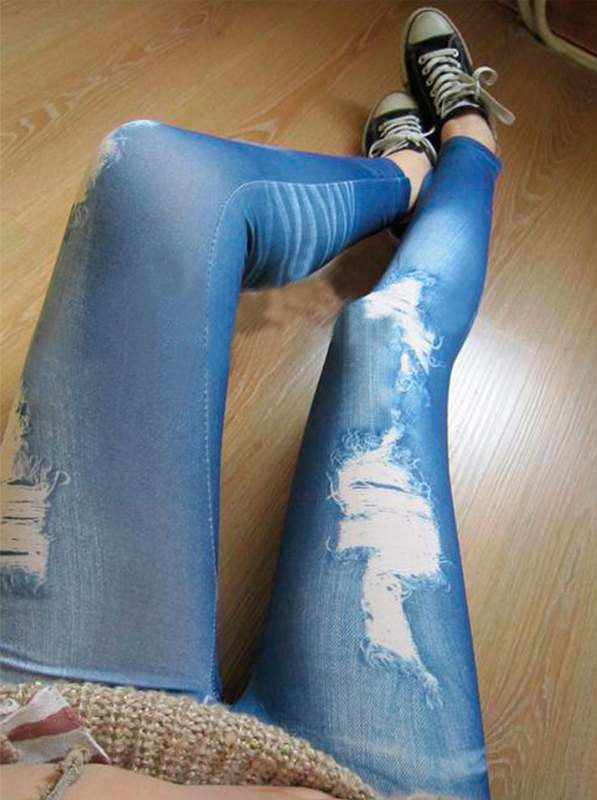 0 Ripped Denim Vintage Jeans Look Skinny Jeggings Tights Pants Trousers Blue Newest - upcube