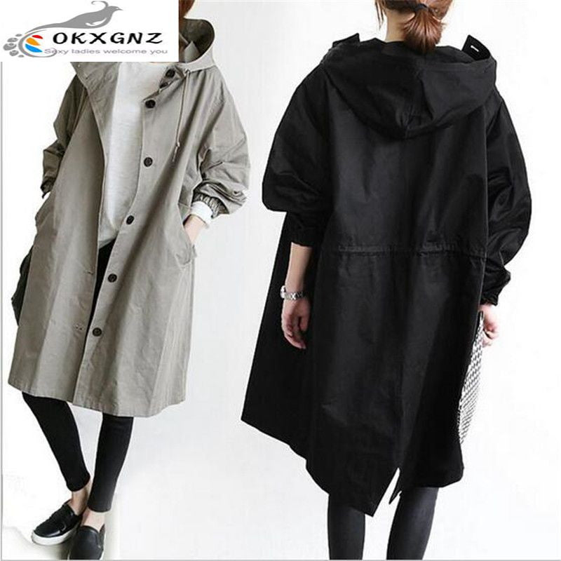 0KXGNZ Korea Style Women Trench Coat 2017 Spring Fashion Leisure Hooded Single-breasted Outerwear Long Loose Female Trench HY41 - upcube
