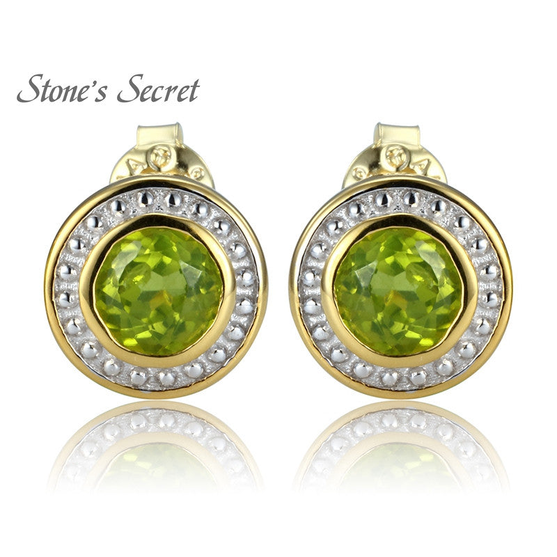 1.79ctw Round Manchurian Peridot Solitaire 14k Gold Over Silver Two Tone Stud Earrings - upcube