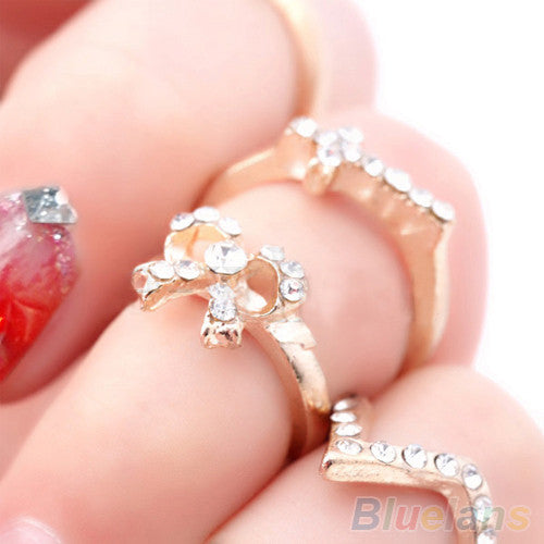 1 Set 7 pcs Women's Rhinestone Bowknot Knuckle Midi Mid Finger Tip Stacking Rings  0665 - upcube