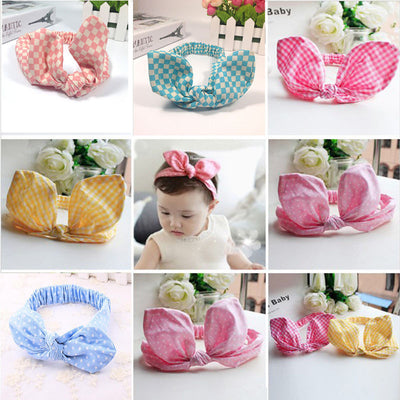 97c4108f522 1 pc Cute Kids Elastic Hairband Turban Knot Rabbit Ear Headband hair  accessories 11 colors -