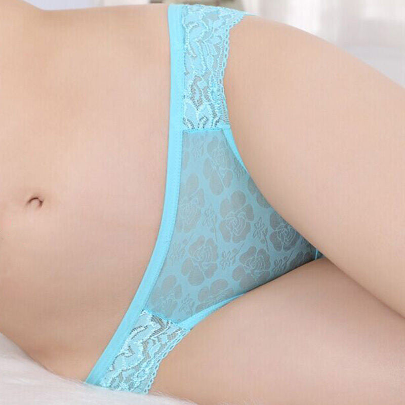 1 pc Lady Women Sexy Lace Briefs Hollow Panty Flowers Bow-knot Underwear Knicker intimates 6 colors