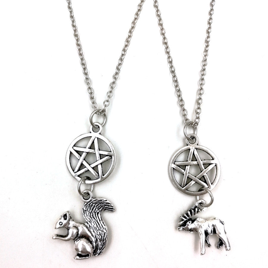 1 set supernatural INSPIRATIONAL sam and dean friendship moose squirrel necklace nw2081 Supernatural Remote E-B Firm (accessory + jewelry)- upcube
