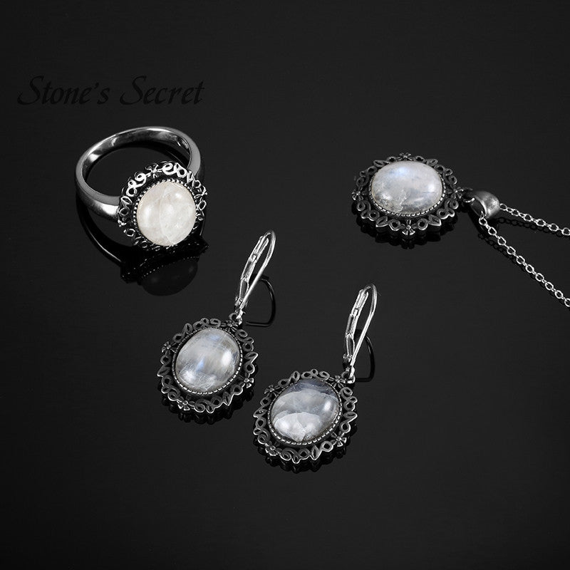 10*12mm Moonstone Sets High Quality Twilight Fine Jewelry Bella Same 925 Silver For Gifts - upcube