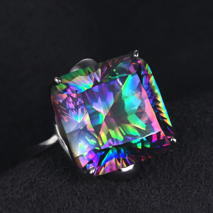10.3ct Square High Quality Fire Mystic Ring 2016 Brand New Hot Sale Best Gift For Women Solid 925 Sterling Silver Jewelry - upcube
