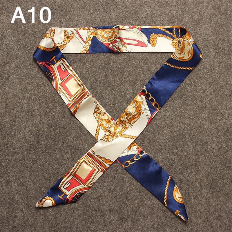 100*5cm Twilly 2017 New Luxury Brand Small Print Silk Scarf For Women Headband Letter Handle Bag Ribbon Scarves Wholesale