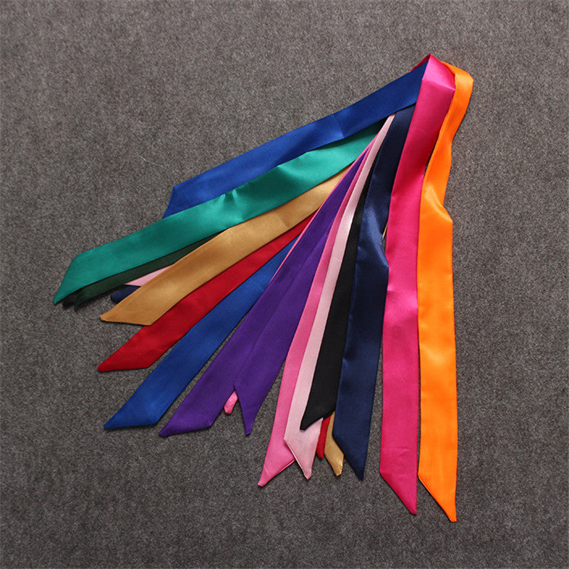 100*5cm Twilly 2017 New Luxury Brand Small Solid Color Silk Scarf For Women Headband Handle Bag Ribbon Letter Scarves Wholesale