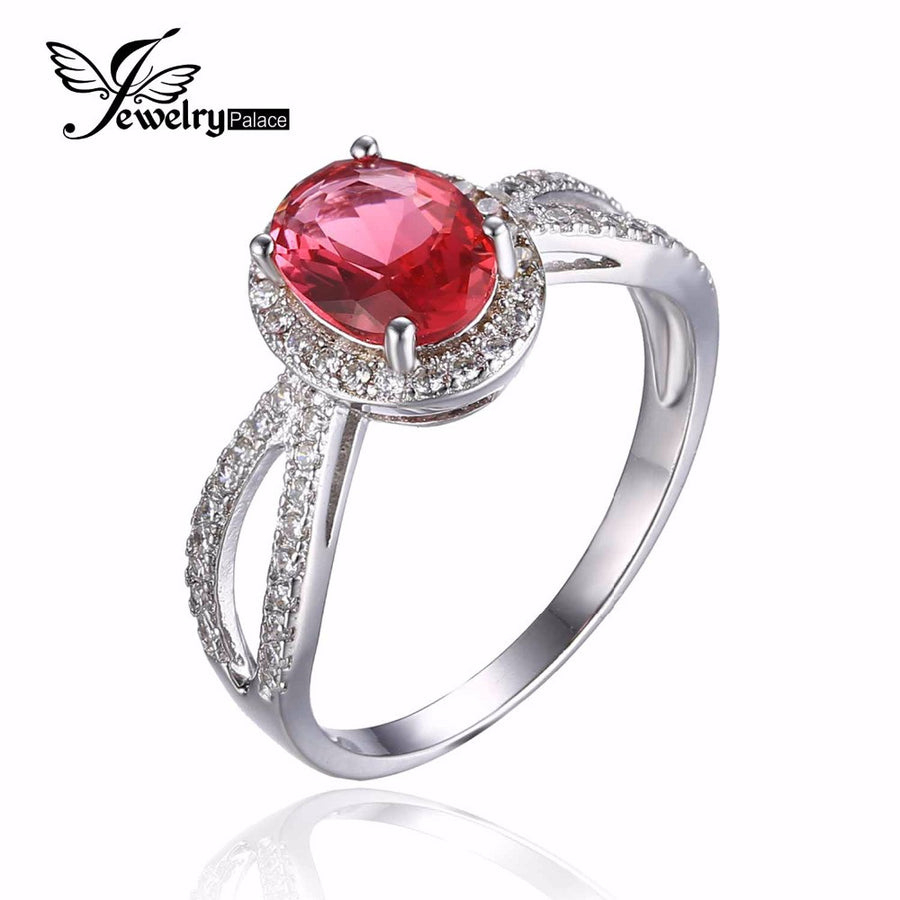 100% 925 Sterling Silver Classic Flower Style Ring Classic Pink Created Sapphire Ring and Best Gift for Women Free Shiping - upcube