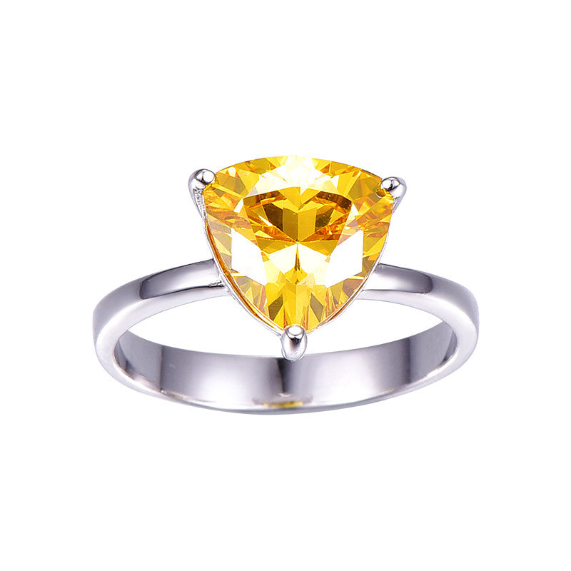100% 925 Sterling Silver Natural Citrine Rings For Women Female Triangle Ring Finger Famous Original Jewelry Fine Jewelry - upcube