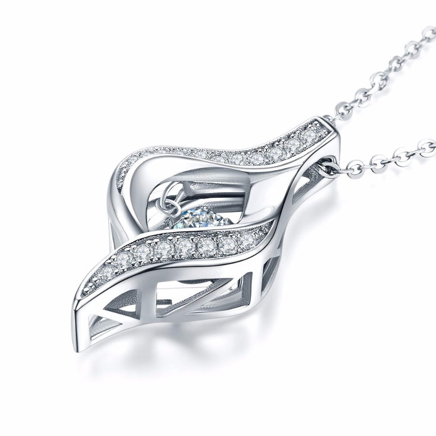 100% 925 Sterling Silver Necklaces&Pendants for Women with Natural Topaz Dancing Natural Stone Best gift for Wife - upcube