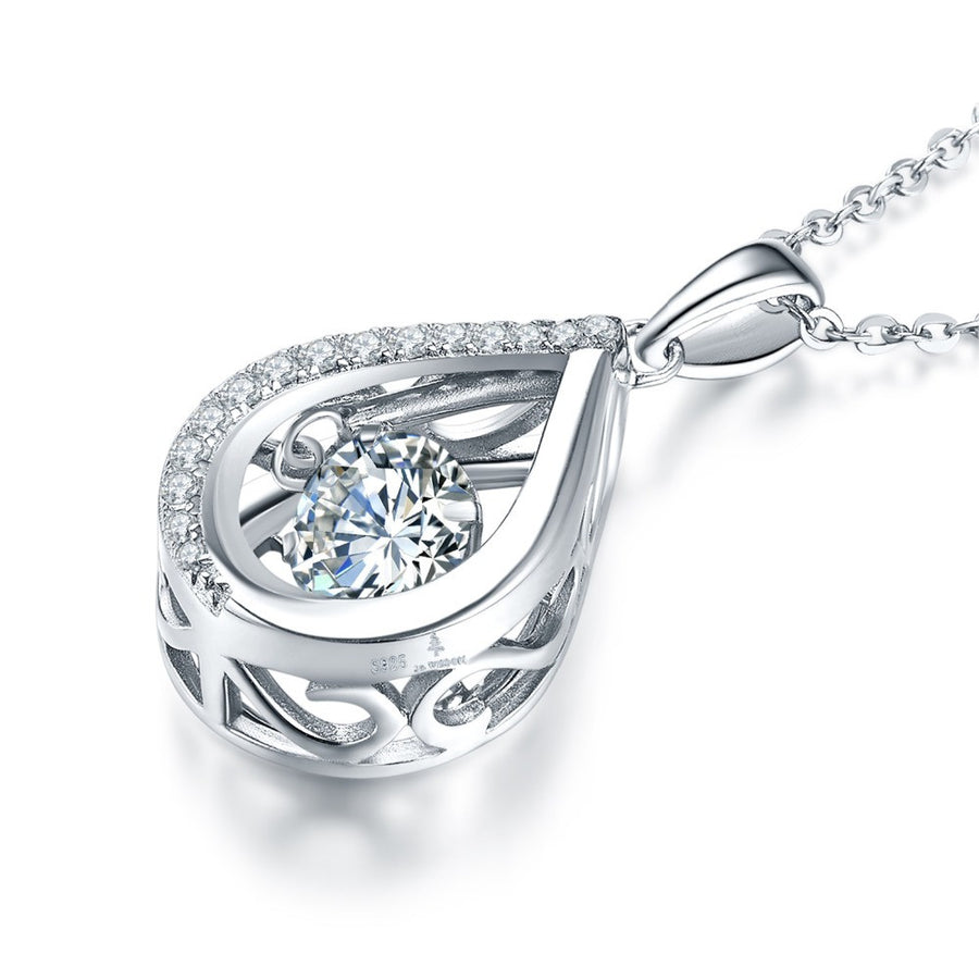 100% 925 Sterling Silver Pendant Necklace with Dancing Natural Stone Natural Topaz for Women - upcube
