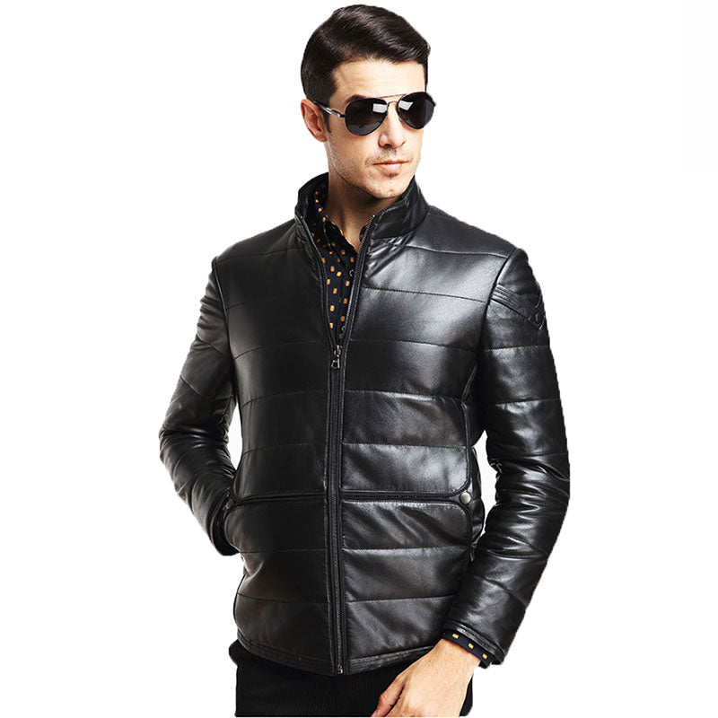 100% Sheepskin Genuine Leather Jacket Male 2016 Brand Men's Slim Causal Motorcycle Jacket jaqueta de couro masculina MC1673 - upcube