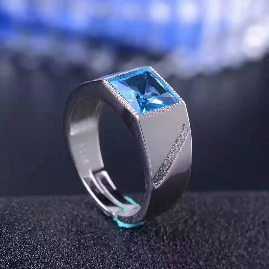 100% natural blue topaz man ring classic silver gemstone ring for man 8mm*8mm topaz stone solid 925 silver neutral unisex ring - upcube