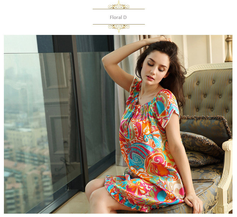 100% pure silk nightgowns women Sexy sleepwear Home dresses SILK nightdress SATIN nightie Summer style Floral dress