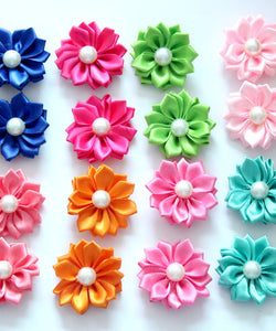 100pcs/lot dog hair bows rubber bands petal flowers bows pearls hair pet dog grooming bows dog hair accessories product for dog