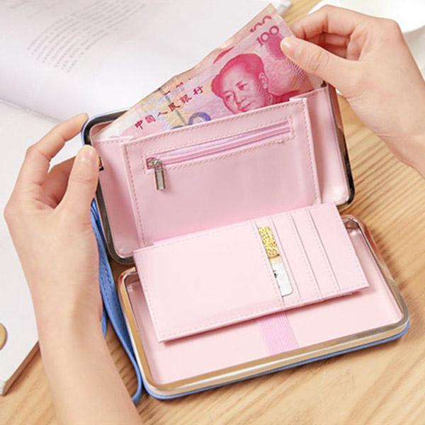 Bowknot Women Wallet Large Capacity Zipper Purse Card Phone Holder Bag Lunch Case Shape