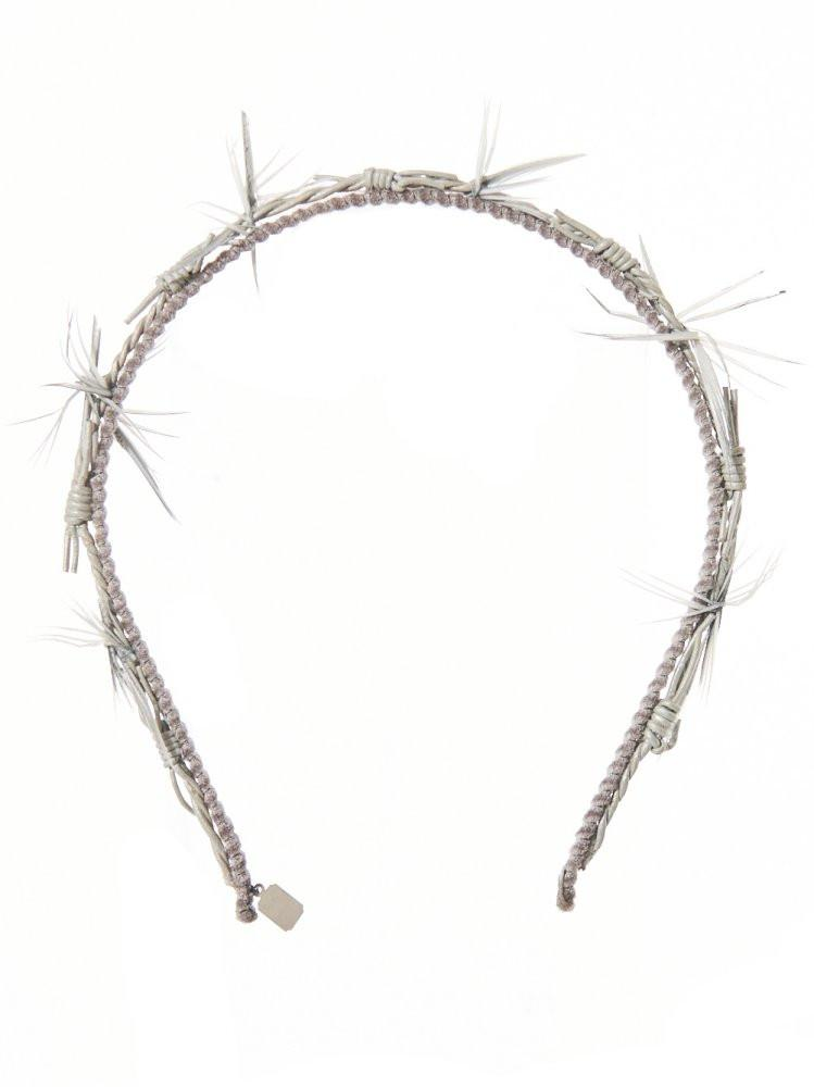 'Barbwire' Leather Headband (AW1614 BARBED STONE GREY) - upcube